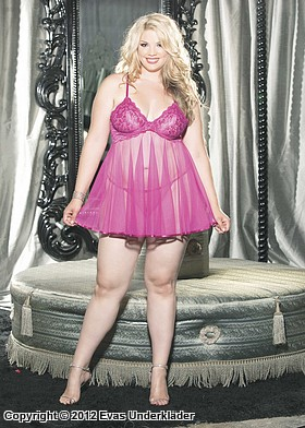 Baby doll i spets och charmuse, plus size, 2
